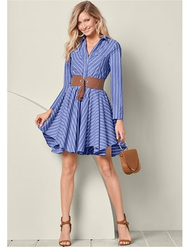 Belted Shirt Dress by Venus