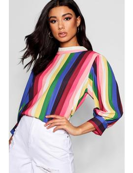 Rainbow Stripe Balloon Sleeve Blouse by Boohoo