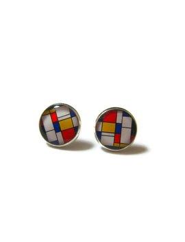 Boucles D'oreilles Mondrian   Bijoux Mondrian   Bijoux Art   Boucles Art   Cadeau Amateur D'art   Idée Cadeau   Bijoux Colorés by Danslairdutemps