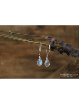 Moonstone Earrings, Drop Earrings, Dangle Earrings, Briolette Jewelry, Leverback Earrings, Gemstones, Sterling Silver 925, Blue Moonstone by Woodland And Moon
