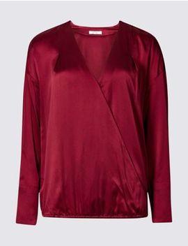 Silk Rich V Neck Long Sleeve Blouse by Marks & Spencer