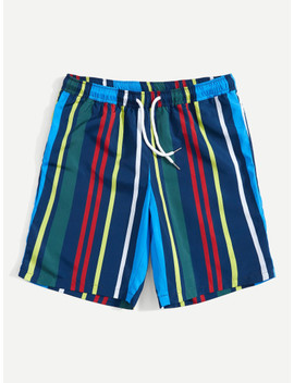 Men Striped Pocket Patched Drawstring Shorts by Shein