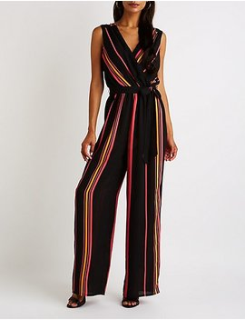 Striped Surplice Wide Leg Jumpsuit by Charlotte Russe