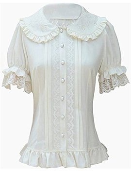 Tan Qiang Women's Sweet Lolita Shirt Short Puff Sleeve Flower Embroidered Peter Pan Collar White Ruffle Blouse by Tan Qiang