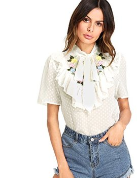 Wdira Women's Tie Neck Flower Embroidered Dot Jacquard Regular Fit Top Blouse by Wdira