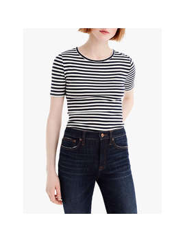 J.Crew Perfect Fit Stripe T Shirt, Navy/Ivory by J.Crew