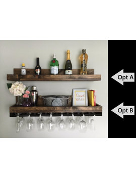 "36"" (Long) Rustic Wood Wine Rack 
