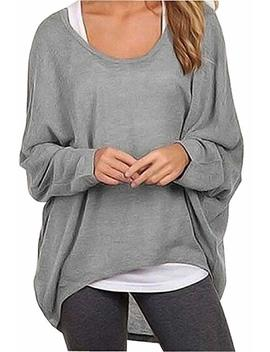 Uget Women's Casual Oversized Baggy Off Shoulder Shirts Batwing Sleeve Pullover Shirts Tops by Uget