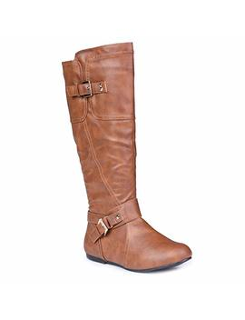 Twisted Women's Shelly Wide Width, Wide Calf Stitched Pannel Tall Boots With Pyramid Studs by Twisted