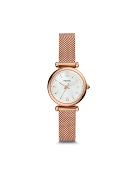 Carlie Mini Three Hand Rose Gold Tone Stainless Steel Watch by Fossil