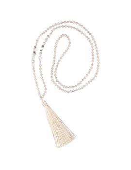 C·Quan Chi Long Chain Tassel Necklace Handmade Natural Pearl Crystal Beaded Pendant Bohemian Women Statement Jewelry Women Gifts Girls by C·Quan Chi