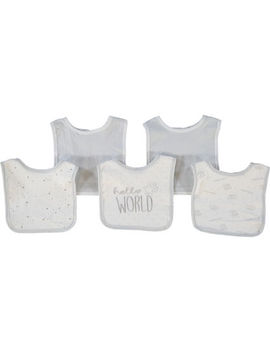Five Piece Grey & White Bib Set by Kyle & Deena
