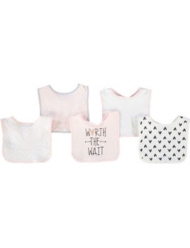 Five Piece Pink Worth The Wait Bib Set by Chick Pea