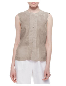 Linen Button Front Shell, Plus Size by Go Silk