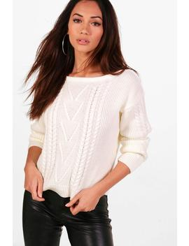 Petite Cable Knit Slash Neck Jumper by Boohoo