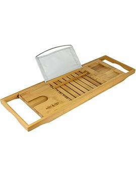 Extendable Bamboo Bath Caddy & Tray | Non Slip Feet | Adjustable Luxury Home Spa Wood Bath Caddy | Wine Glass, Tablet / Book, Smartphone Holder | Universal Design | M&W by Maison & White