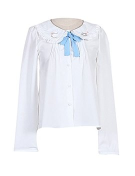 Plaid&Plain Women's Doll Collar Long Sleeve Button Sweet Lolita Shirt Blouse by Plaid&Plain
