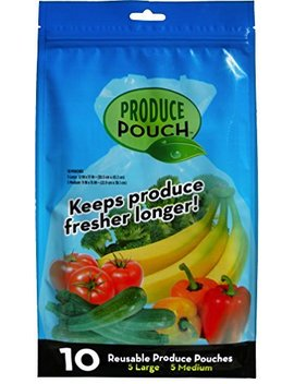 "Produce Pouch 10 Bags   Transparent Green Bags For Fruits & Vegetables, Reusable Fresh Banana Bags, Washable, Bpa Pvc Lead Free Produce Bags  5 Large & 5 Medium Produce Bags, 12"" × 17""; 9"" × 15"" by Produce Pouch"