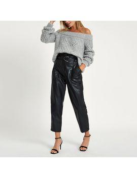 Grey Knit Bardot Sweater by River Island