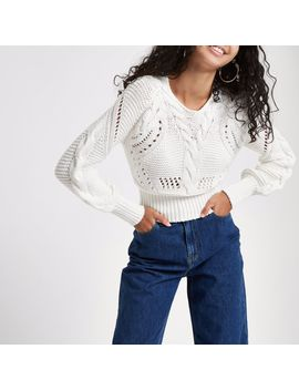 White Knit Stitch Detail Long Sleeve Sweater by River Island