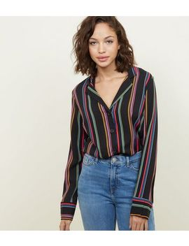Tall Black Rainbow Stripe Shirt by New Look