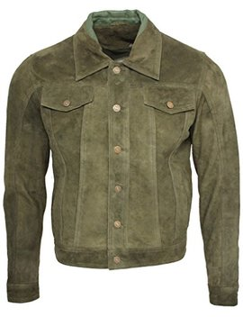 Men's Trucker Casual Khaki Goat Suede Leather Shirt Jeans Jacke by Infinity