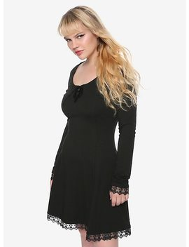 Black Long Sleeved Lace Trim & Velvet Lace Up Dress by Hot Topic