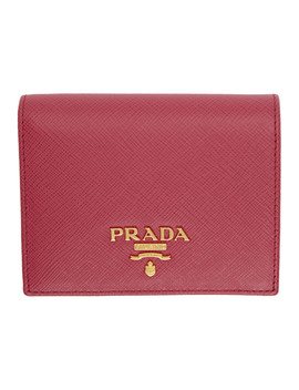 Red Saffiano French Wallet by Prada