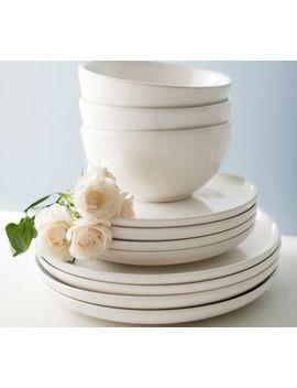 Joshua 16 Piece Dinnerware Set   Ivory White by Pottery Barn