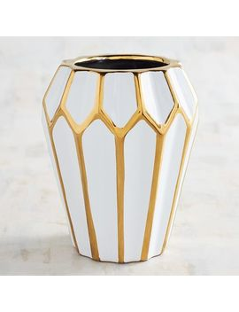White Vase With Golden Edges by Pier1 Imports