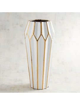 Tall White Vase With Golden Edges by Pier1 Imports