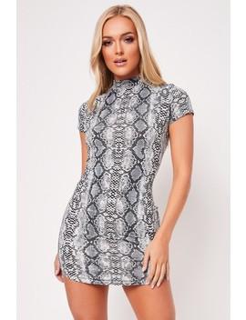 Hattie Grey Snake Print Bodycon Dress by Misspap