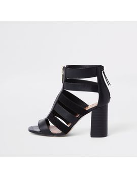 Black Caged Block Heel Shoe Boots by River Island