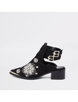 Black Suede Embellished Backless Boots by River Island