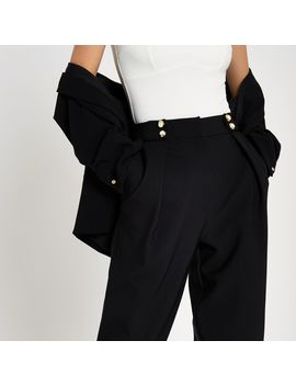 Black Button Peg Trousers by River Island