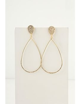 Glisten And Gleam Gold Teardrop Earrings by Lulu's