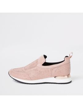 Pink Sequin Embellished Sneakers by River Island