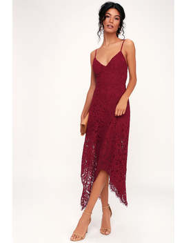 One Wish Burgundy Lace Midi Dress by Lulu's