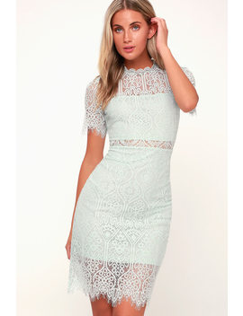 Remarkable Light Mint Blue Lace Dress by Lulu's