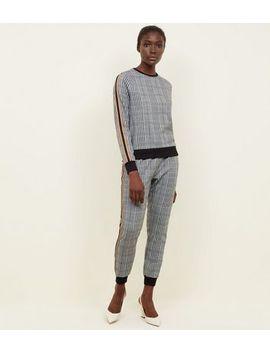 Black Check Tape Side Stripe Sweatshirt by New Look