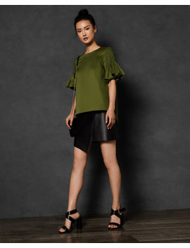 Smocked Sleeve Cotton Top by Ted Baker
