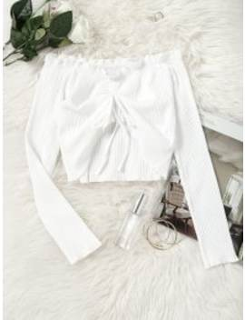 Gathered Off Shoulder Cropped Top   White S by Zaful