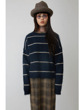 Mohair Striped Sweater Navy/Beige by Acne Studios