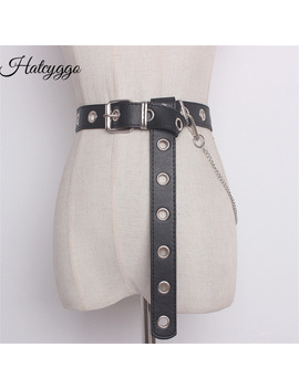 Hatcyggo Detachable Waist Belt Chain Punk Hip Hop Trendy Women Belts Ladies Fashion Cowboy Belt Steel Pin Buckle Waistband Jeans by Hatcyggo