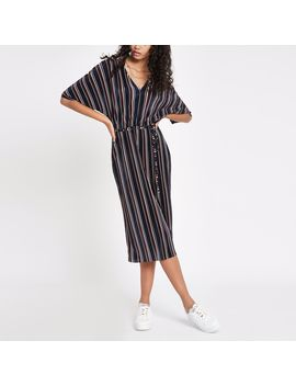 Navy Stripe Kimono Sleeve Dress by River Island