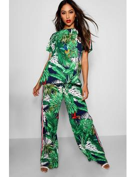 Penny Palm Print Top & Trouser Co Ord by Boohoo