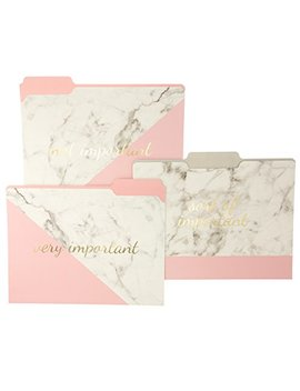 "Graphique Blush Marble File Folder Set – File Set Includes 9 Folders And 3 Unique""Important"" Designs, Embellished W/Gold Foil On Durable Triple Scored Coated Cardstock, 11.75"" X 9.5"" by Graphique"