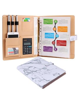 Plinrise High Grade Multifunction Letter Size Padfolio/Resume Portfolio Folder Document Organizer/Business Card Holder With Calculator And 8 File Pockets (White Marble) by Z Plinrise
