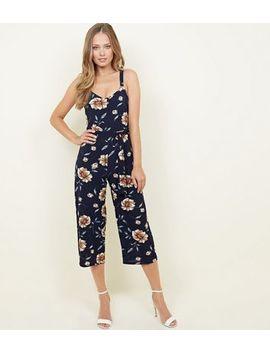 Mela Navy Floral Crepe Culotte Jumpsuit by New Look