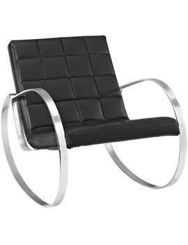 Modern Contemporary Urban Design Living Lounge Room Lounge Chair, Black, Faux Leather by Modà